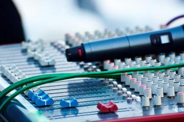 Close-up of sound recording audio mixer