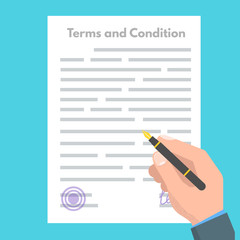 Terms And Conditions concept.  Document paper, contract. Vector illustration in flat style.