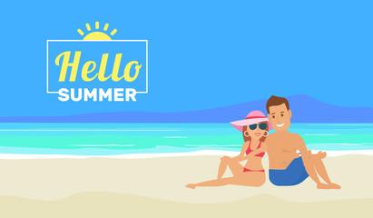 hello summer.couple sitting on tropical beach