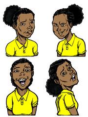 Cartoon Black Girl with Yellow Shirt
