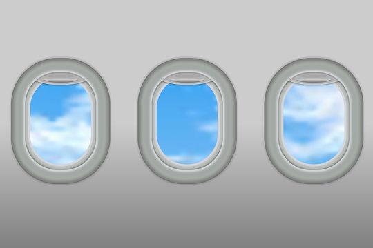 portholes of airplane