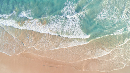 Aerial View of Waves and Beach Along Great Ocean Road Australia at Sunset