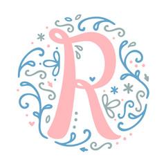 Feminine Floral Monogram Alphabet 'r'