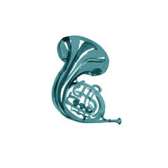 Musical instruments graphic template. Turquoise French horn. Watercolor illustration
