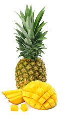 Ripe pineapple with mango isolated on white background