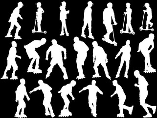 people white silhouettes on roller skates and scooters