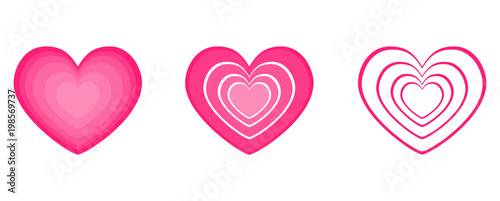 Pink Hearts Icon Object Of Love Isolated On White Background For