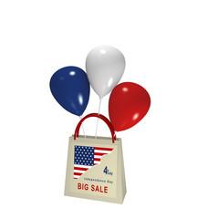 Einkaufstasche mit Luftballons und Sale Werbung für den Unabhängigkeitstag, 3d render