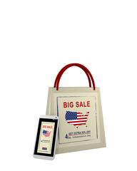 Einkaufstasche und Handy mit Sale Werbung für den Unabhängigkeitstag, 3d render