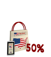 Einkaufstasche und Handy mit Sale Werbung für den Unabhängigkeitstag und der Text 50%, 3d render