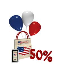Einkaufstasche mit Luftballons und Handy mit Sale Werbung für den Unabhängigkeitstag und der Text 50%, 3d rendering