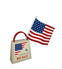 Einkaufstasche mit Sale Werbung und amerikanischer Flagge auf weiß isoliert, 3d rendering