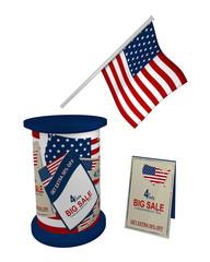 Werbeobjekte für den 4. Juli. Flagge, Litfaßsäule und Aufsteller, auf weiß isoliert, 3d render