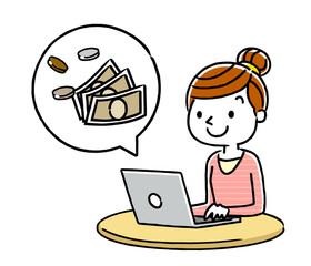 女性:パソコンとお金