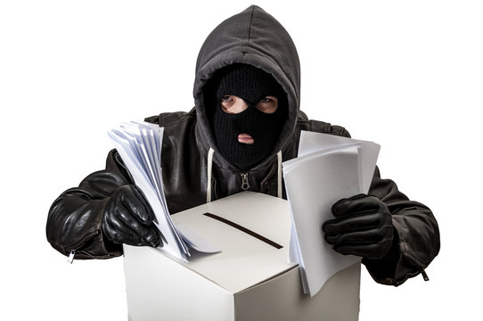 Election fraud and vote rigging concept with a thief wearing a hoodie, ski mask and leather gloves is ballot stuffing an electoral voting box, isolated on white with a clipping path cutout