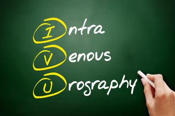 IVU - intravenous urography acronym, concept on blackboard
