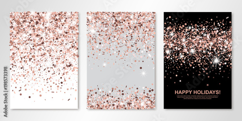 Banners Set Of Three Sheets With Rose Gold Confetti Vector Flyer