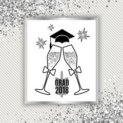Grad greeting card 2018 class of with glasses of champagne, hat and fireworks for invitation, banner, poster, postcard. Silver graduation template on stripe background. All isolated and layered
