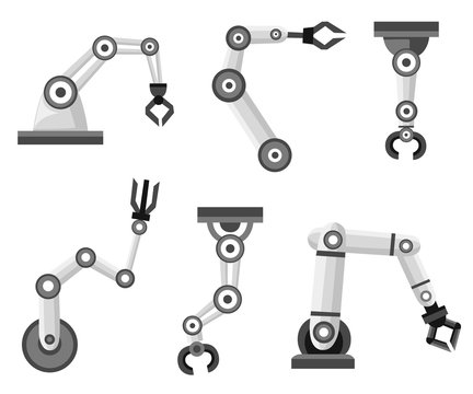 Set of robotic arms. Robotic arm manufacture. Cartoon style icon. Vector illustration isolated on white background