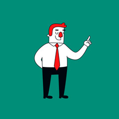 Office worker holding index finger up