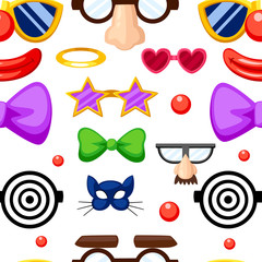 Seamless pattern of fun masks. Party Birthday photo booth props. Mustache, spectacles, bow tie and mouths in cartoon style. Vector illustration on white background