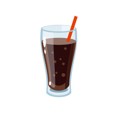 Glass of soda with straw. Vector illustration cartoon flat icon isolated on white.