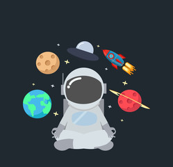 Astronaut meditating  in space background