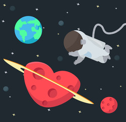 Astronaut floating in space background
