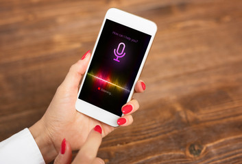 Voice assistant concept on mobile phone