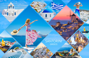 Santorini postcard, collage of beautiful photos from famous Greek island Fotomurales