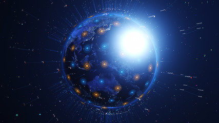 Shiny digital blue earth with city lights. Technology and global network concept.
