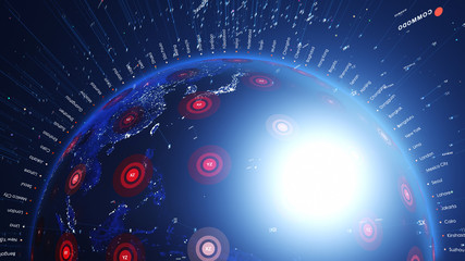 Close up shiny digital blue earth with city lights. Technology and global network concept.