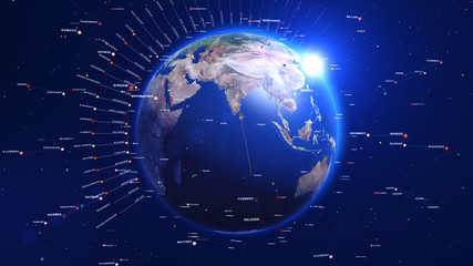 Digital blue earth with shiny lights and lines around. Technology concept.