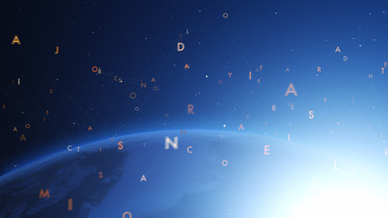 Shiny blue earth covered with 3d lines and letters around. Technology and global network concept.