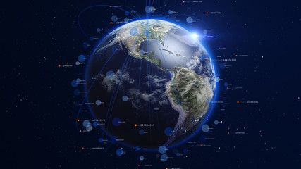 Shiny blue earth covered with lines and numbers around. Technology and global network concept.