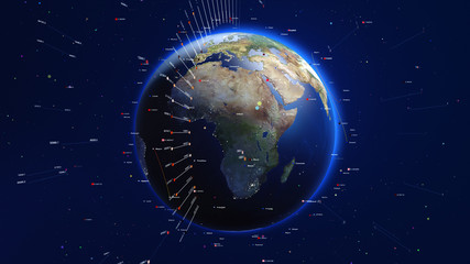 Shiny blue earth with colorful 3d lines and letters around. Technology and global network concept.