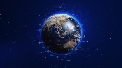 Shiny blue earth with 3d lines and colorful circles around. Technology and global network concept.