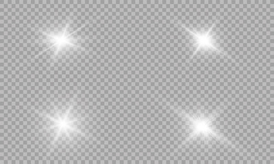 Glow light effect. Vector illustration. Christmas flash Concept. Vector illustration of abstract flare light rays. A set of stars, light and radiance, rays and brightness. Set of Vector glowing light.