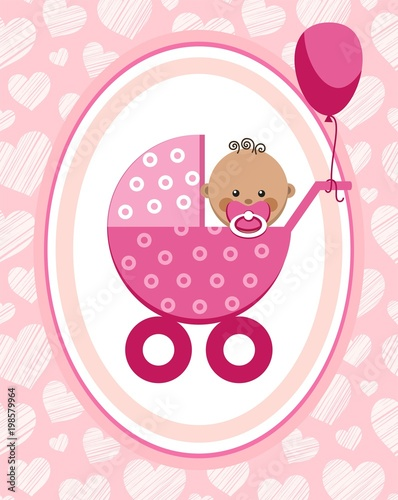 Newborn baby girl greeting card africa pink hearts vector a newborn baby girl greeting card africa pink hearts vector a m4hsunfo
