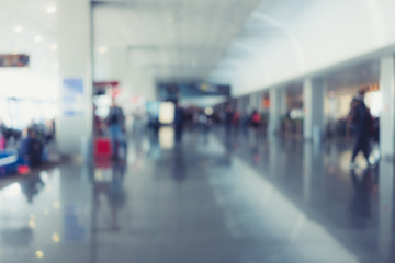 Background of airport hall out of focus