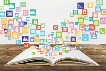 本から学習する様々なコンテンツイメージと白壁テクスチャ