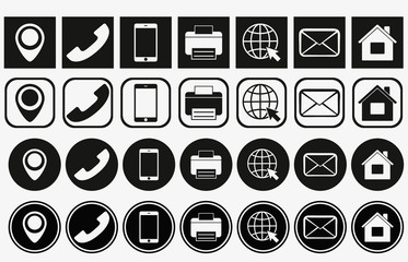 Vector business card contact information icons. business card contact icons set. contact information icons