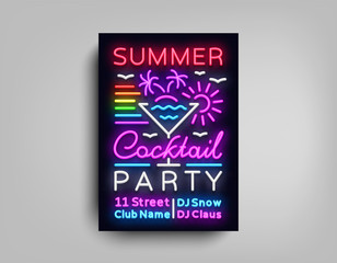 Cocktail Party poster neon. Flyer template design in neon style. Summer Cocktail Party Dance Invitations, Light Banner, Bright Brochure Nightlife, Nightly Neon Advertising. Vector illustration