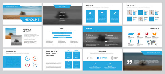 White vector business slides with blue elements for presentation
