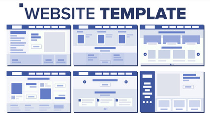 Website Page Set Design Vector. Responsive Web Pages Design Concept. UX, UI. Wireframes Layout, Architecture. Illustration
