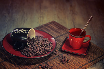 Wall Murals Coffee beans grains de café avec tasse