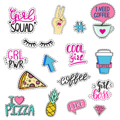 Set of funny feminine stickers