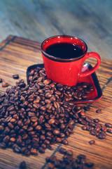Aluminium Prints Coffee beans grains de café avec tasse