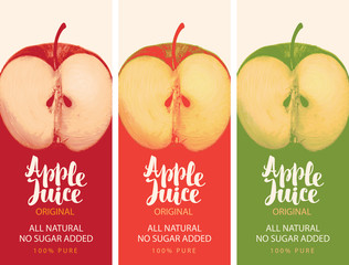 Vector set of labels for natural Apple juice with a realistic image of a half of an Apple and calligraphic inscription