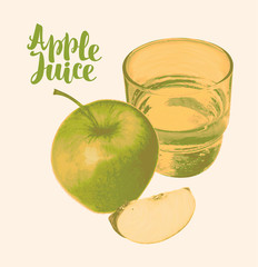 Vector banner for apple juice with a realistic image of an apple, glass of juice and calligraphic inscription